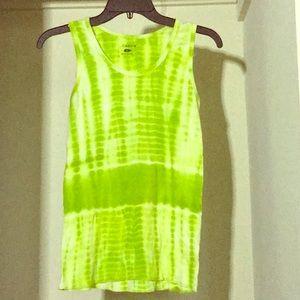 Tie dye patterned green workout tank top